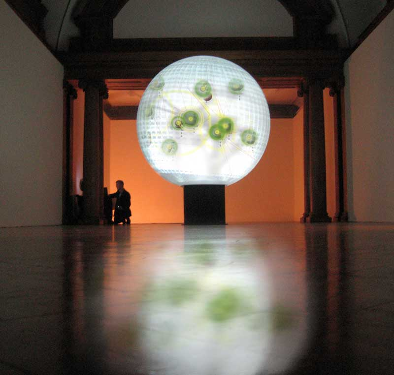 Image by Stanza / Sensity on a round globe display tested at County Hall London (Live data on globe 2006)